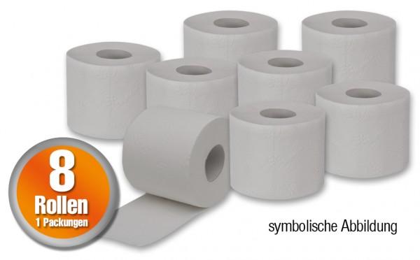 8 Rollen Toilettenpapier - 250 Blatt pro Rolle 2-lagig in naturweiss / grau