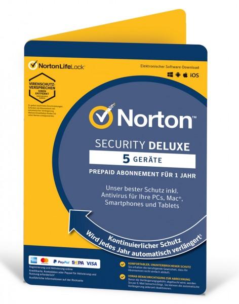 Norton Security Deluxe 2021 / 2022 - 5 Geräte / 1 Jahr - ESD