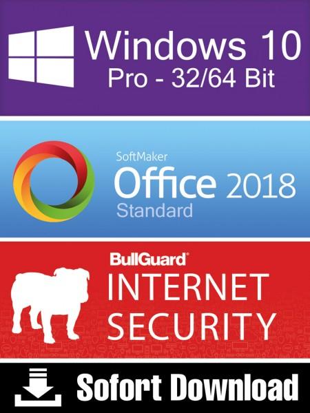 Windows 10 Pro (1PC) + Softmaker Office 2018 Std (5PC) + BullGuard Internet Security (2PC/1Jahr) ESD
