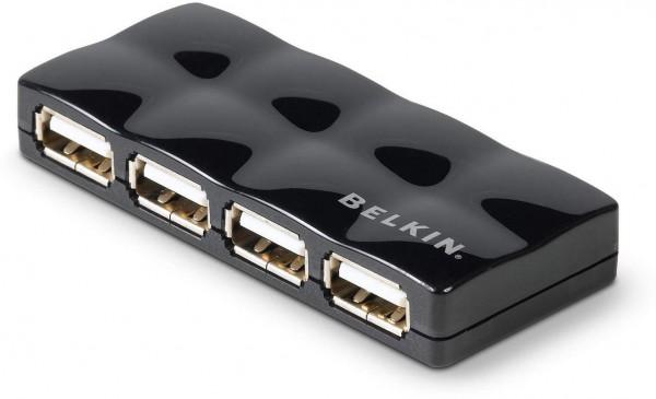 Belkin 4 Port USB 2.0 HUB mit Netzteil - glänzend
