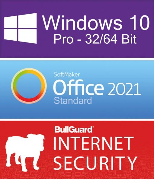 Windows 10 Pro (1PC) + Softmaker Office 2021 Std (5PC) + BullGuard Internet Security (2PC/1Jahr) ESD