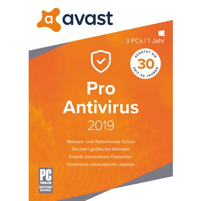 AVAST Pro Antivirus 2019 - 3 PC / 1 Jahr - ESD