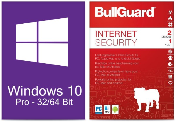 Windows 10 Pro (1 PC) + Bullguard Internet Security (2 User / 1Jahr) ESD