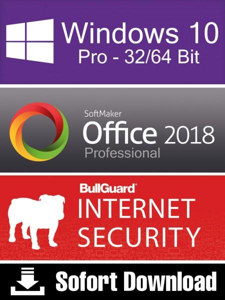 Windows 10 Pro (1PC) + Softmaker Office 2018 Pro (5PC) + BullGuard Internet Security (2PC/1Jahr) ESD
