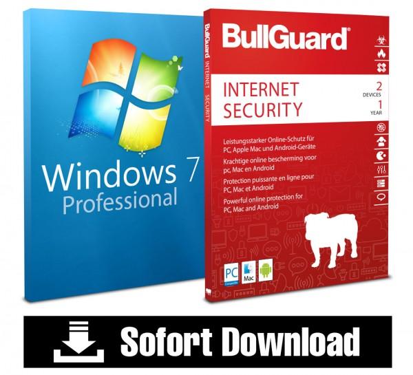 Windows 7 Professional (1 PC) + Bullguard Internet Security (2 User/1Jahr) ESD