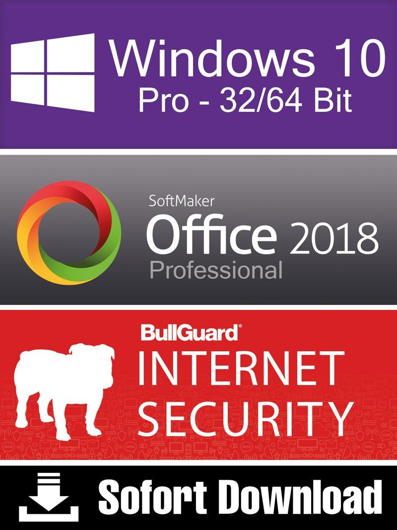 Windows 10 Pro (1PC) + Softmaker Office 2018 Pro (5PC) + BullGuard Internet Secu