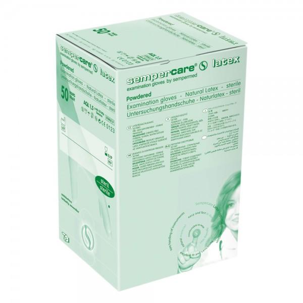 Sempercare Untersuchungshandschuhe - steril verpackt - gepudert Größe S - Naturlatex - 50er Pack
