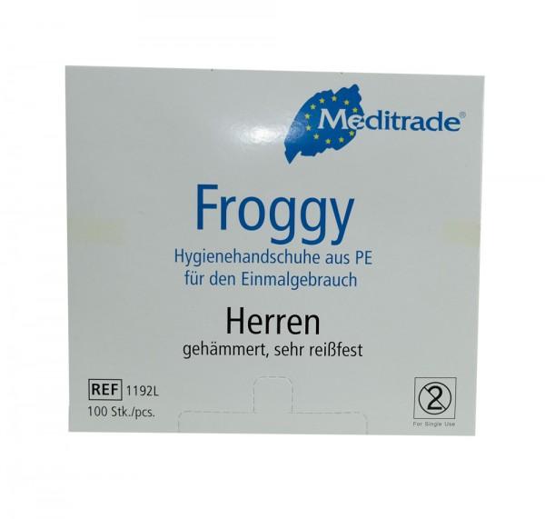 PE Hygienehandschuhe - puderfrei Größe L - Herren, transparent weiss, Meditrade Froggy - 100er Pack