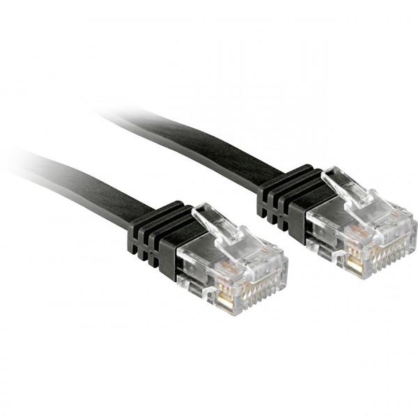RJ45 Netzwerkkabel Patchkabel - Flachbandkabel CAT 6 U/UTP 3 Meter - Schwarz