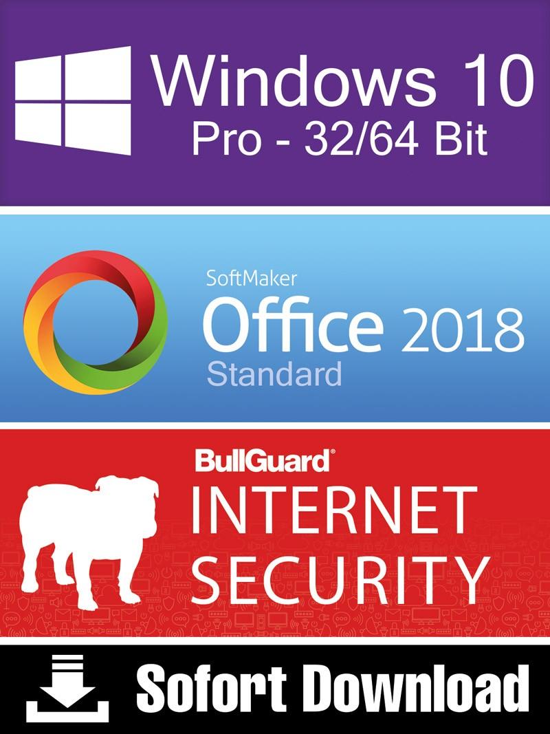 Windows 10 Pro + Softmaker Office 2018 Standard + BullGuard Security – ESD