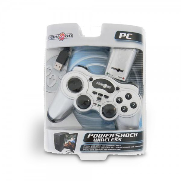Play on - PowerShock Wireless Controller für PC - Silber - Win98, ME, 2000, XP